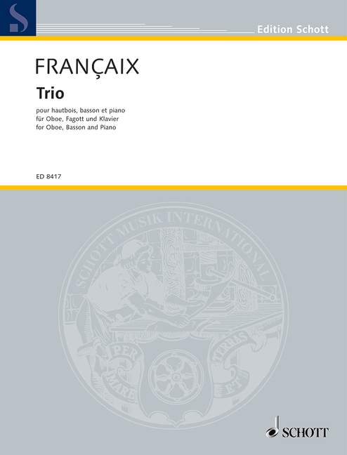 Trio for oboe Jean score and parts oboe bassoon and piano Françaix bassoon a